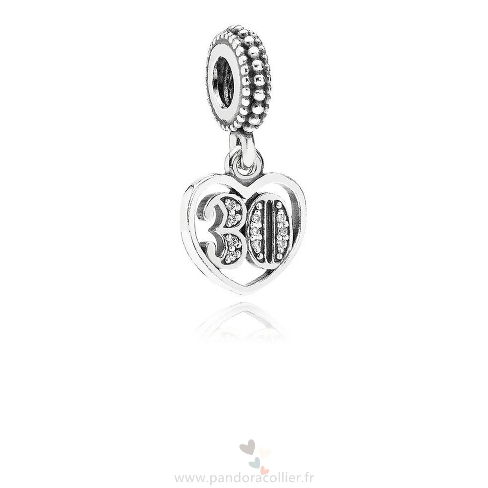 Promotionnel Pandora Pandora Mariage Anniversaire Charms 30 Annees D'Amour Dangle Charm Clear Cz