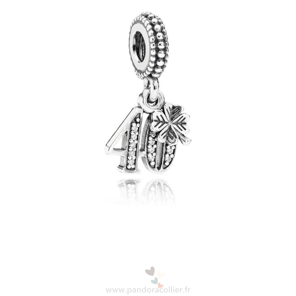 Promotionnel Pandora Pandora Mariage Anniversaire Charms 40 Annees D'Amour Dangle Charm Clear Cz