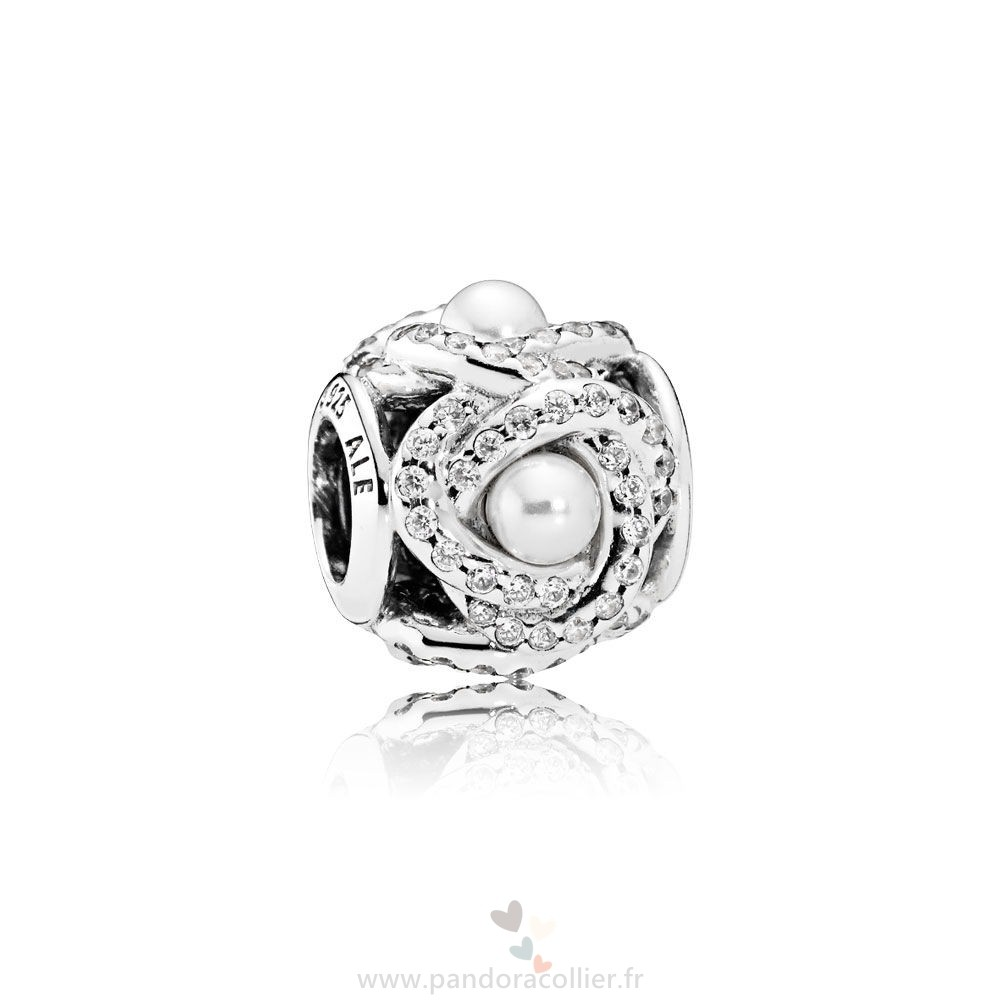Promotionnel Pandora Pandora Mariage Anniversaire Charms Luminous Amour Knot Blanc Crystal Pearl Clear Cz