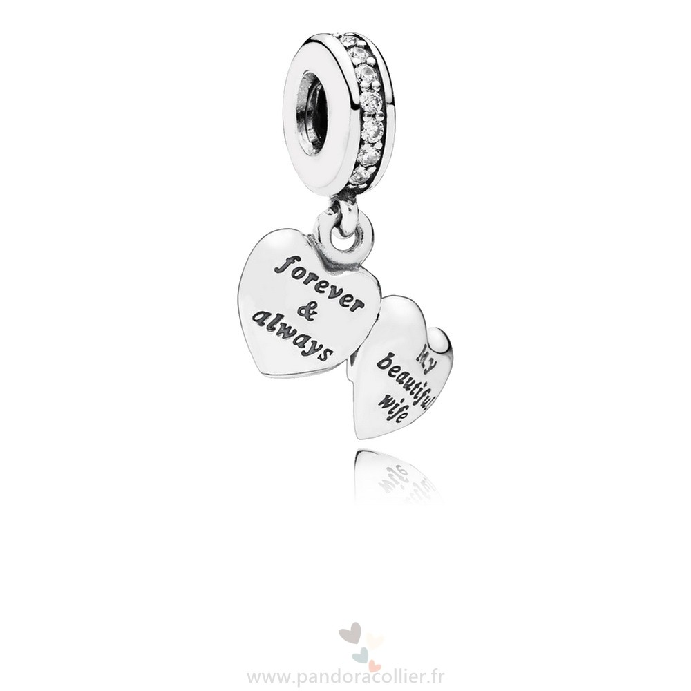 Promotionnel Pandora Pandora Mariage Anniversaire Charms Mon Belle Femme Dangle Charme Clear Cz
