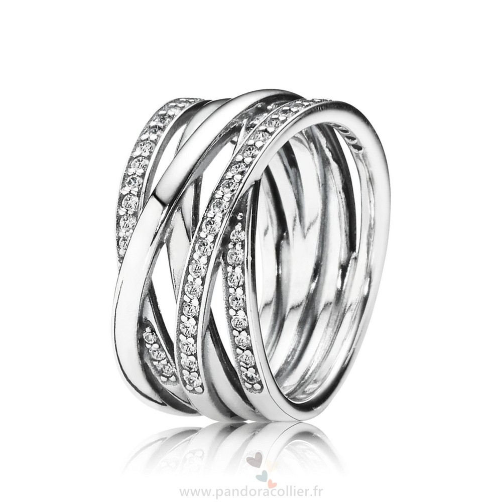 Promotionnel Pandora Bagues Entwined Clear Cz