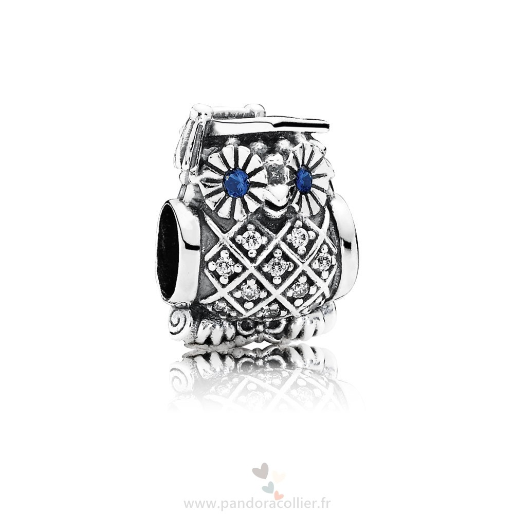 Promotionnel Pandora Pandora Passions Charms Carriere Aspirations Hibou Diplome Swiss Blue Crystal Clear Cz