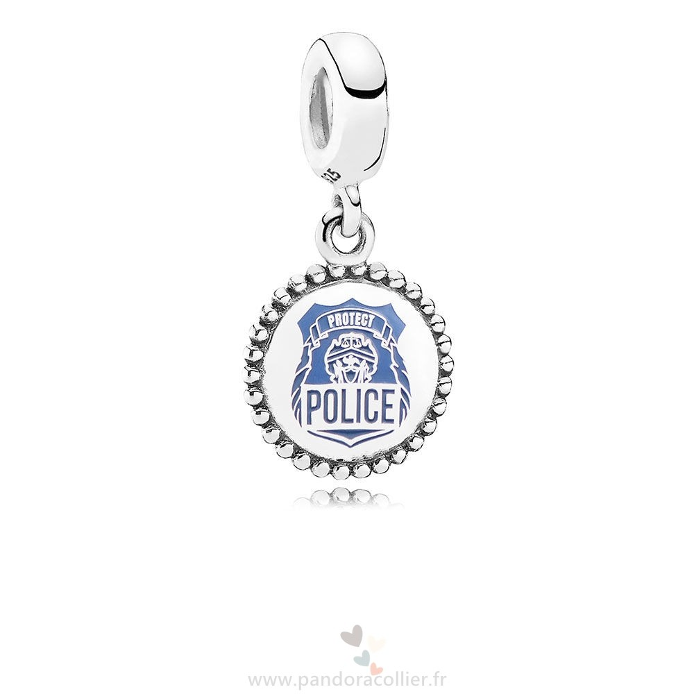 Promotionnel Pandora Police Pendre Charm Bleu Email