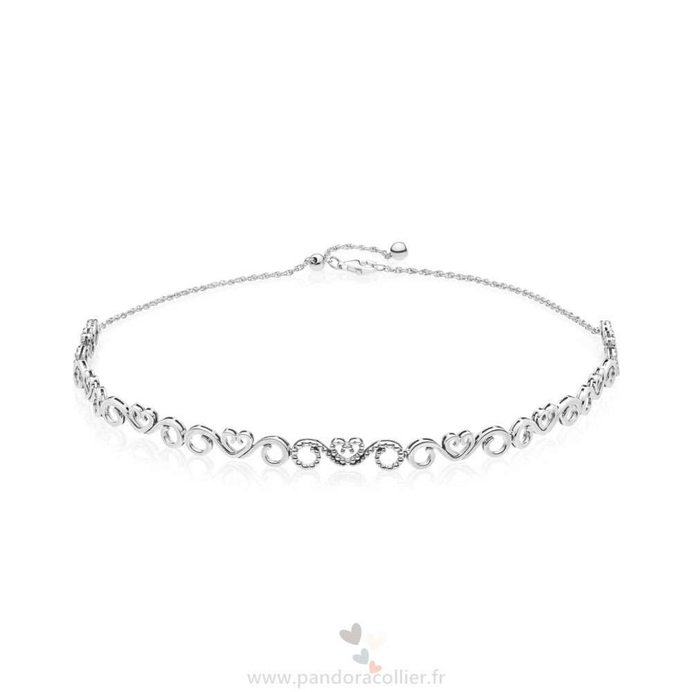Promotionnel Pandora Coeur Swirls Choker Collier