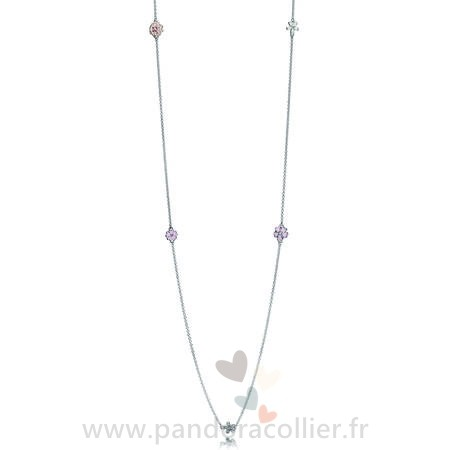 Promotionnel Pandora Pandora Chaines Poetique Fleurs Collier Melange Emaux Clear Cz Blush Rose Crystal