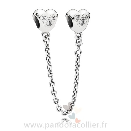 Promotionnel Pandora Chaines De Securite Disney Coeur De Mickey Chaine De Securite Clear Cz