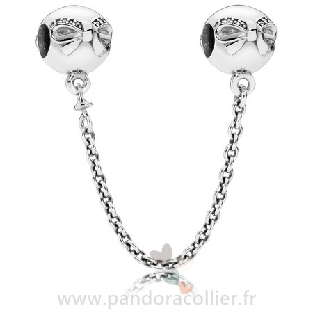 Promotionnel Pandora Pandora Chaines De Securite Dainty Bow Safety Chain Clear Cz
