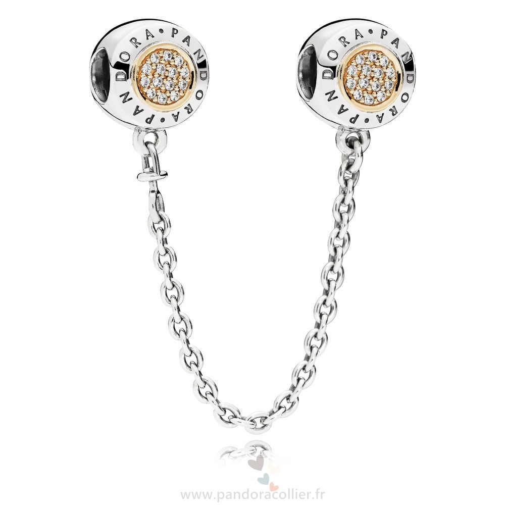 Promotionnel Pandora Pandora Chaines De Securite Pandora 14K Signeature Chaine De Securite Clear Cz