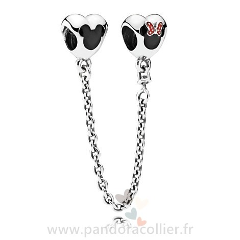 Promotionnel Pandora Pandora Chaines De Securite Pandora 925 Mickey Et Minnie Mouse Safety Chain