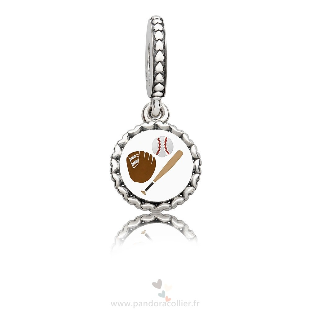 Promotionnel Pandora Baseball Dangle Charm, Mixte Émail