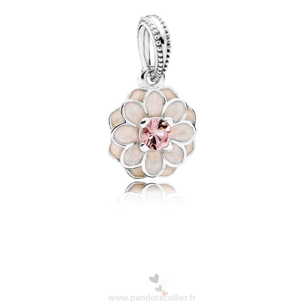 Promotionnel Pandora Pandora Dangle Breloques Blooming Dahlia Dangle Charm Creme Email Blush Rose Crystal