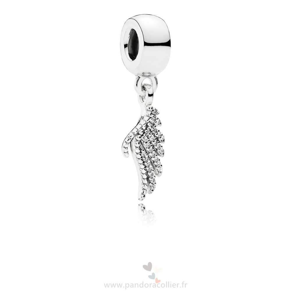 Promotionnel Pandora Pandora Passions Charms Chic Glamour Majestueux Feather Dangle Charm Clear Cz