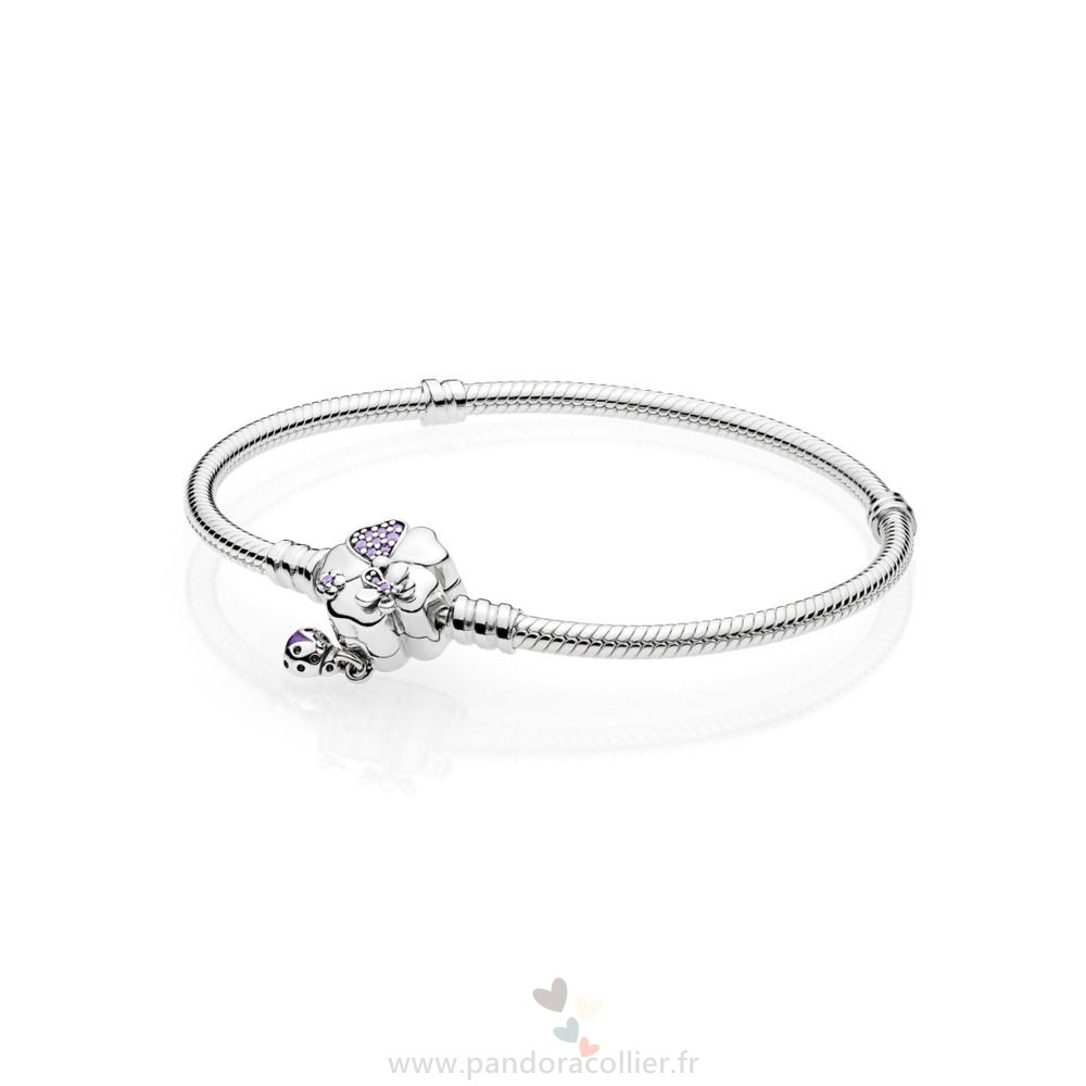 Promotionnel Pandora Des Moments Argent Bracelets Avec Wildflower Prairie Clasp
