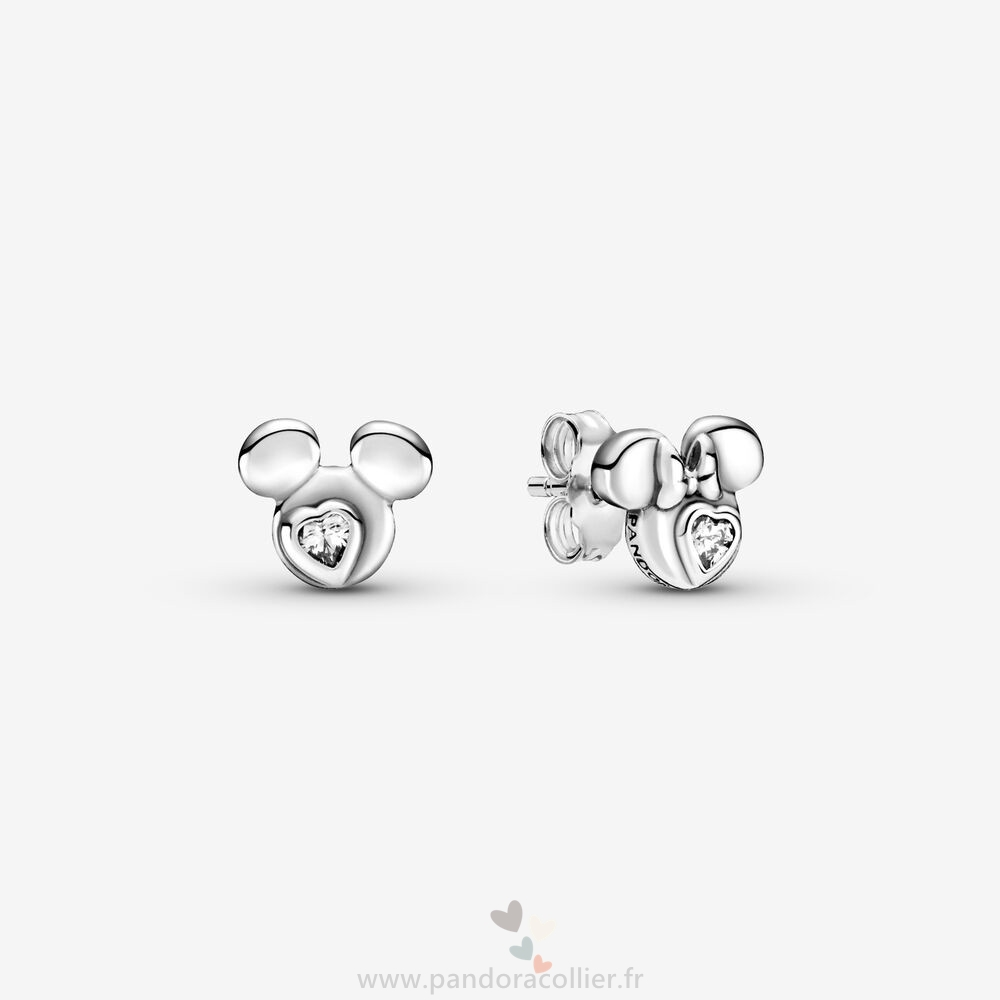 Promotionnel Pandora Disney Mickey Mouse Et Minnie Mouse Silhouette Goujon Boucles D'Oreilles