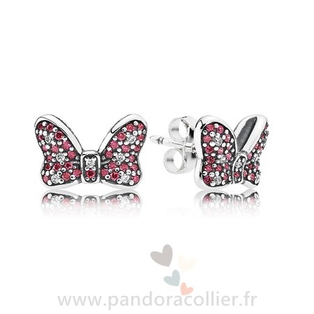 Promotionnel Pandora Pandora Boucles D'Oreilles Disney Minnie'S Sparkling Bow Stud Boucles D'Oreilles Red Clear Cz
