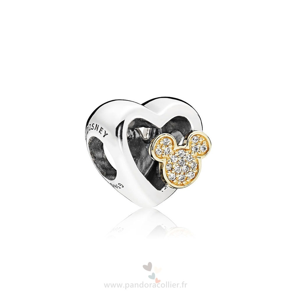 Promotionnel Pandora Collection D'Hiver Disney Mickey Minnie Amour Icones Charme Red Clear Cz