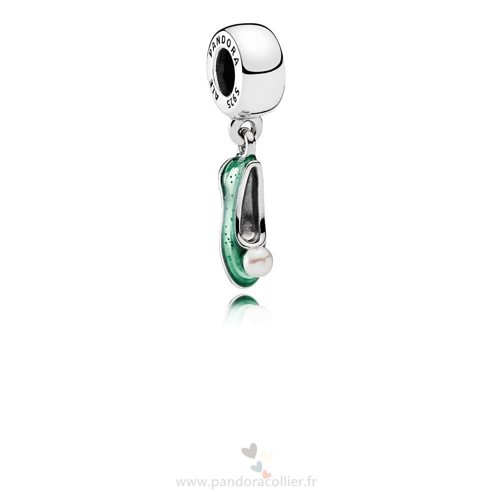 Promotionnel Pandora Disney Tinker Bell Chaussure Dangle Charm Blanc Cultured Pearl Glittering Vert Email