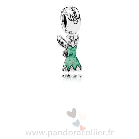 Promotionnel Pandora Disney Tinker Bell'S Robe Dangle Charm Glittering Vert Email