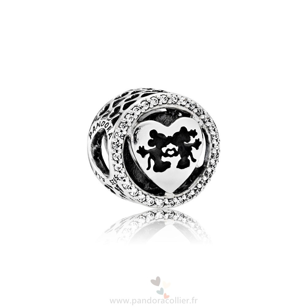 Promotionnel Pandora Pandora Disney Breloques Mickey Minnie Amour Charm Clear Cz