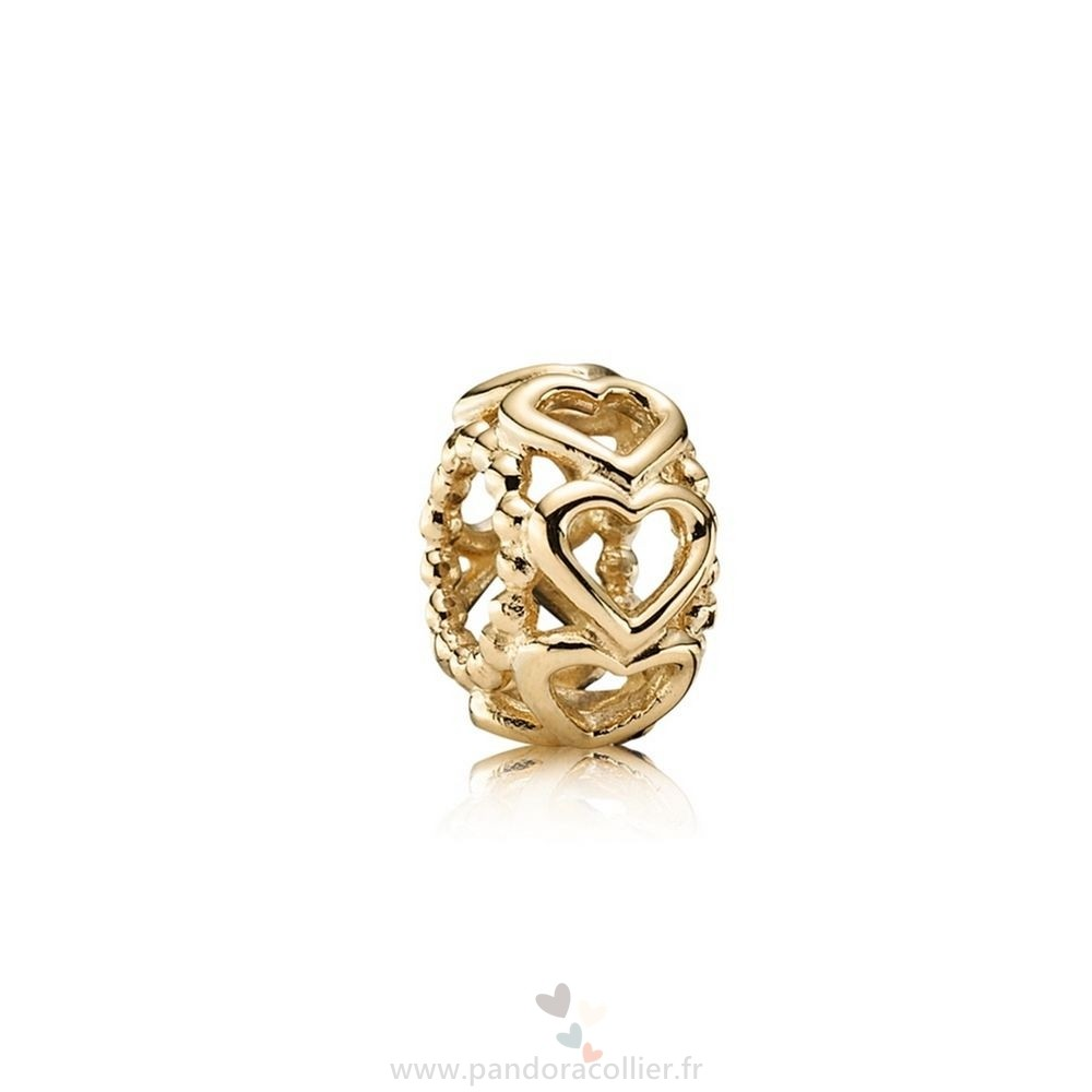 Promotionnel Pandora Pandora Entretoises Charms Lucky In Amour Coeur Spacer 14K Or