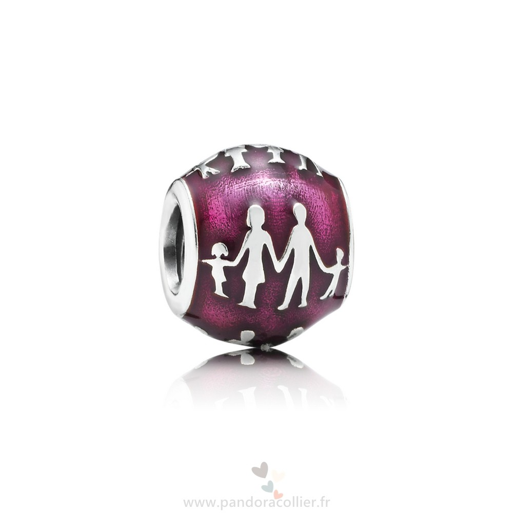 Promotionnel Pandora Famille Famille Silhouette Charm Transparent Fuchsia Email