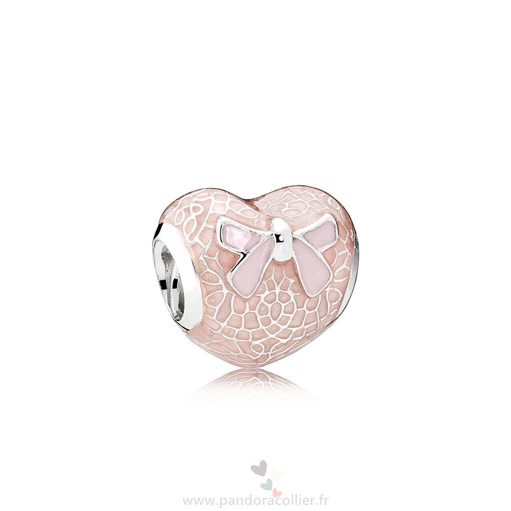 Promotionnel Pandora Pandora Saint Valentin Charms Rose Bow Dentelle Coeur Charm Transparent Misty Rose Soft Rose Email