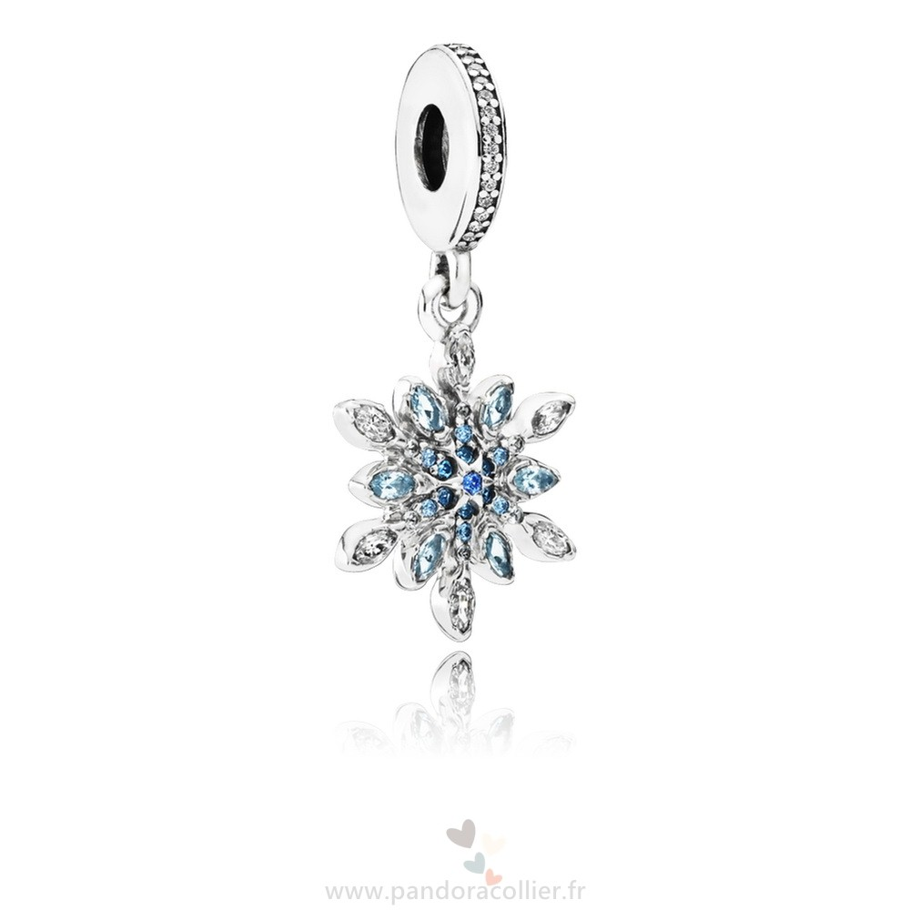 Promotionnel Pandora Pandora Nature Charms Crystalized Snowflake Dangle Charm Blue Crystals Clear Cz