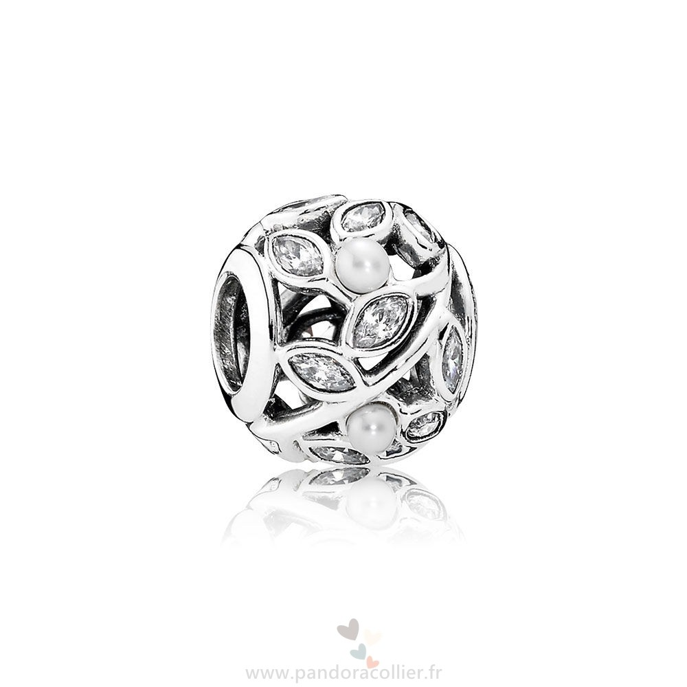Promotionnel Pandora Pandora Nature Charms Feuilles Lumineuses Blanc Pearl Clear Cz