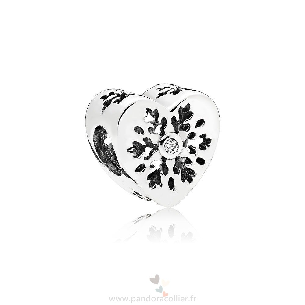 Promotionnel Pandora Pandora Nature Charms Flocon De Neige Coeur Charme Clear Cz