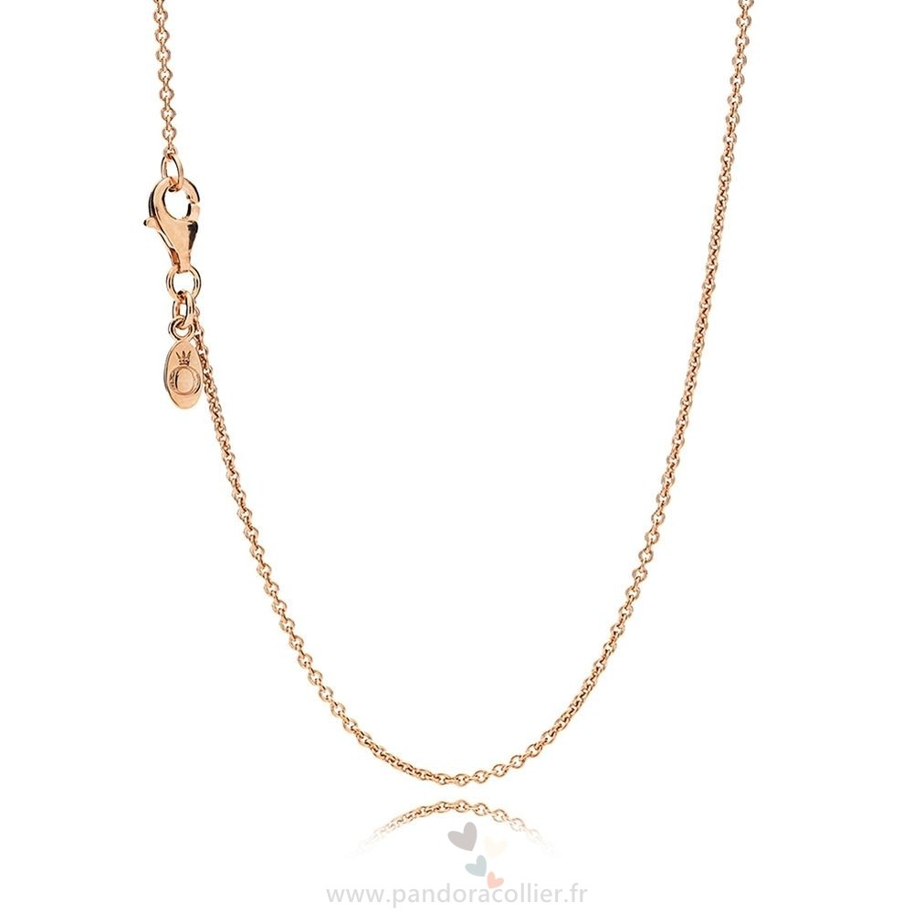 Promotionnel Pandora Pandora Chaines Collier Chaine Sterling Argent 14K Rose Or