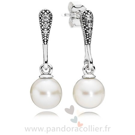 Promotionnel Pandora Elegant Beauty Drop Boucles D'Oreilles Blanc Pearl Clear Cz