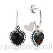 Promotionnel Pandora Mi Amor Heart Drop Boucles D'Oreilles Black Onyx