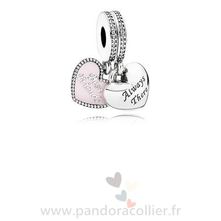 Promotionnel Pandora Dangle Charms Meilleur Amis Soft Rose Email Clear Cz