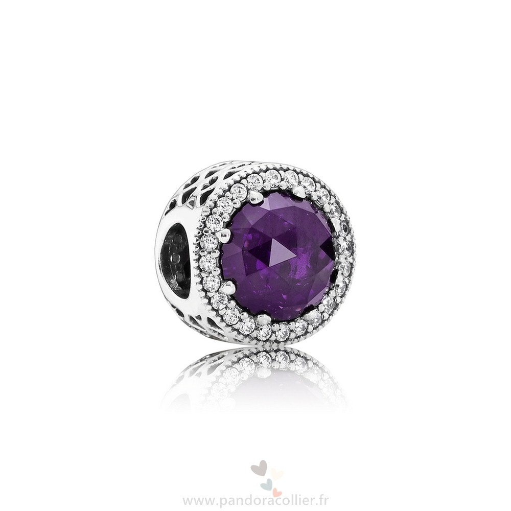 Promotionnel Pandora Collection Coeurs De Radiant Royal Violet Crystal Clear Cz