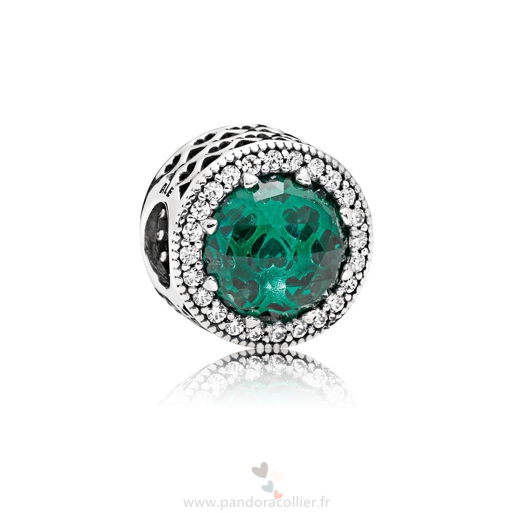 Promotionnel Pandora Collection Coeurs De Radiant Sea Vert Cristaux Clear Cz