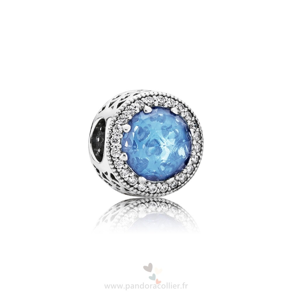 Promotionnel Pandora Collection Coeurs De Radiant Sky Blue Crystal Clear Cz