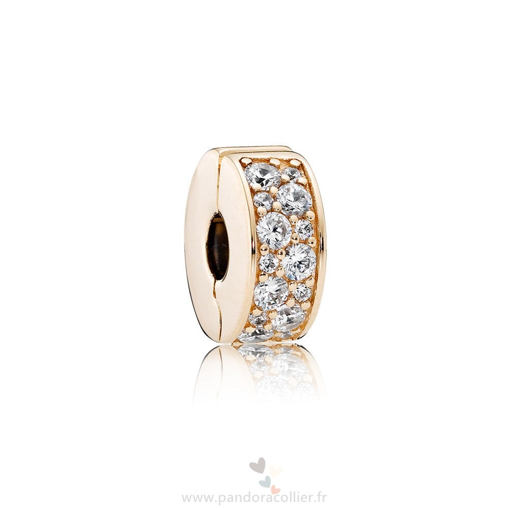 Promotionnel Pandora Pandora Paillettes Paves Breloques Brillant Elegance Clip 14K Or Clear Cz