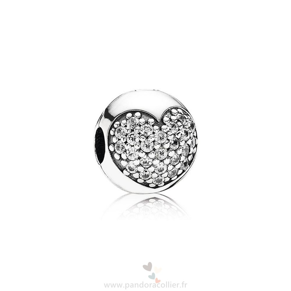 Promotionnel Pandora Pandora Paillettes Paves Charms Amour De Ma Vie Clip Clear Cz