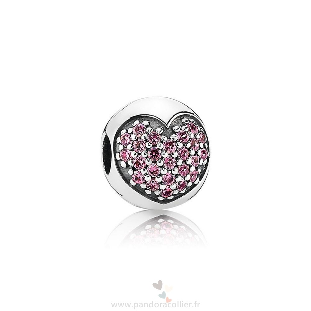 Promotionnel Pandora Pandora Paillettes Paves Charms Amour De Ma Vie Clip Fancy Rose Cz