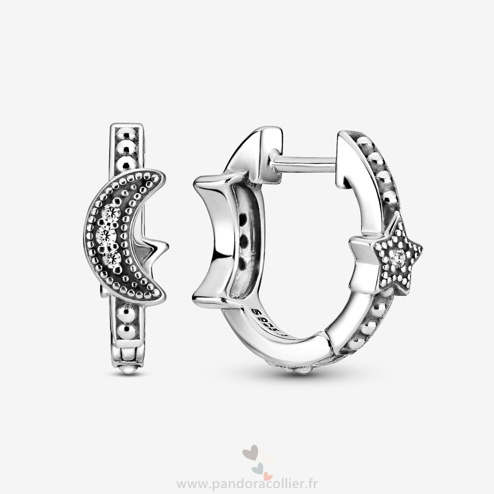 Promotionnel Pandora Crescent Moon & Stars Beaded Hoop Boucles D'Oreilles